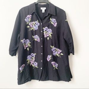 Bob Mackie Embroidered Hydrangea Top